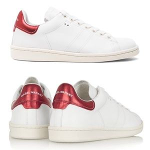 🎉HP🎉 Isabel Marant Red & White Bart Sneakers